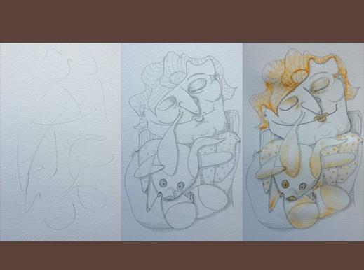 Serendipitous cretaion process of drawings in pencil by Atamayka